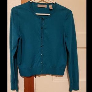 Liz Claiborne teal cardigan sweater size Medium P